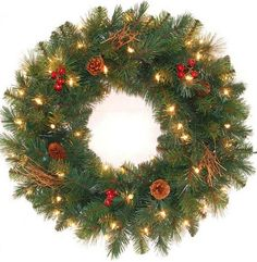 24 in. Pre-Lit Hawkins Pine Artificial Wreath with Clear Lights, Pine Cones, Berries and Twigs Christmas Greenery, Christmas Wreaths, Christmas Decorations, Battery Operated Christmas Wreath, Happy Holidays, Christmas Holidays, Christmas Stuff, Merry Christmas, Pre Lit Wreath