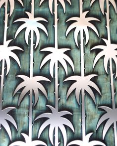 Art Deco palm tree pattern on stenciled mirror and glass
