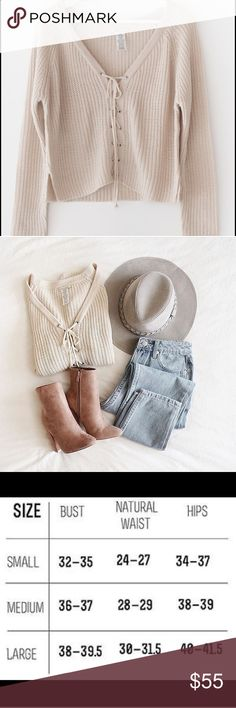 Cream V neck lace up comy fall sweater Brand new - v beck lace up front long sleeve cardigan - not brandy brand - breathofyouth.con Brandy Melville Sweaters Crew & Scoop Necks