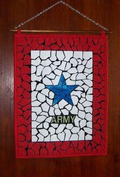 Blue Star Banner Fabric Mosaic Wall Hanging