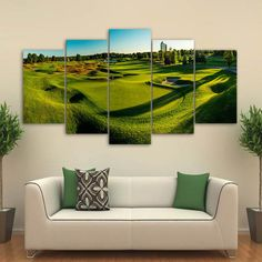 Home Decor Canvas golf Course view Painting Printed Wall Art Picture Print 5 Piece Canvas Art, Canvas Frame, Canvas Art Prints, Canvas Wall Art, 5 Panel Wall Art, Wall Art Sets, Framed Wall Art, Living Room Pictures, Wall Art Pictures