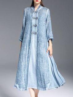 Blue Tencel Slit 3/4 Sleeve Two Piece Midi Dress