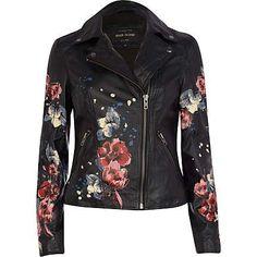 Black leather floral print biker jacket £180.00