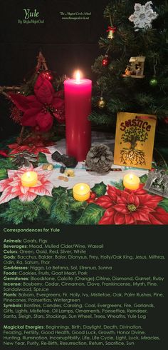 My correspondences chart for the sabbat Yule with altar. - By Skyla NightOwl - The Magical Circle School - www.themagicalcircle.net