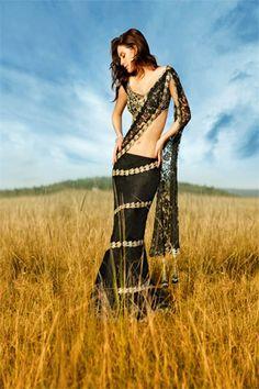 Black Lace Saree - Seasons