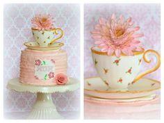 {Cute Dahlia Teacup cake by Sugarpatch Cakes}