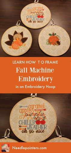 Learn how to Frame Fall Machine Embroidery in an Embroidery Hoop Border Embroidery, Types Of Embroidery, Embroidery Hoops, Embroidery Ideas, Diy Art Projects, Fall Projects, Sewing Projects, Machine Embroidery Projects, Free Machine Embroidery Designs