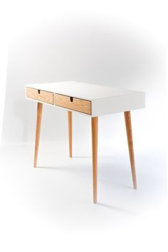 Desk lacquered in white and oak drawers Bureau dressing table office desk Classic Mid Century Modern Office Furniture, Office Desk, Modern Furniture, Home Furniture, Furniture Design, Oakwood Furniture, Modern Office Table, Mid Century Modern Desk, Table Desk