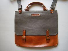 """Genuine Leather Briefcase, Messenger Bag, 13""""laptop Bag, Handmade Leather Bag,Men's retro satchel bag,student bag, School bag, gift for him"""