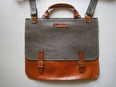 Genuine Leather Briefcase Messenger Bag 13laptop by 74streetbags