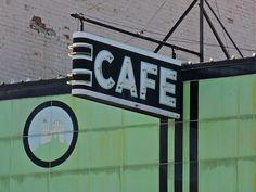 green art deco cafe sign