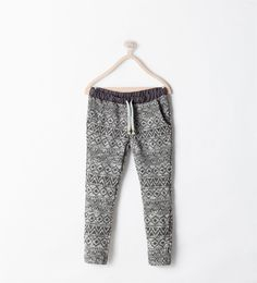 Image 1 of JACQUARD DRAWSTRING TROUSERS from Zara