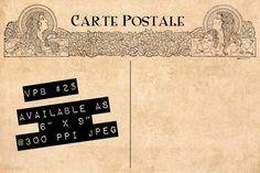 Blank Templates Vintage Postcard Back 25 Art by VintageFieldGarden, $3.75