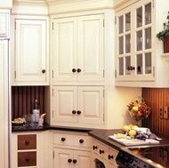 Corner cabinet with appliance garage - this looks large enough.