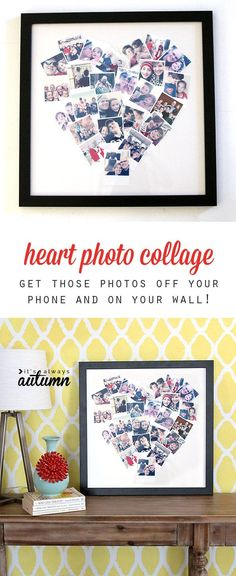 get your photos off your phone and on you wall with this cute DIY heart photo collage. great handmade gift idea! #boyfriendgiftsideas