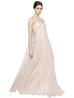 STRAPLESS DRAPED SILK CHIFFON DRESS. Alexander McQueen.