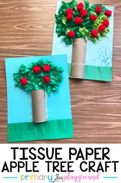 Tissue Paper Apple Tree Craft – Primary Playground – Gardening for beginners and gardening ideas tips kids Fall Crafts For Kids, Spring Crafts, Toddler Crafts, Art For Kids, Crafts To Make, Kids Crafts, Craft Projects, Fall Preschool, Preschool Crafts
