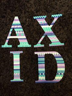 Alpha Xi Delta Hand Painted Aztec Wooden Letters