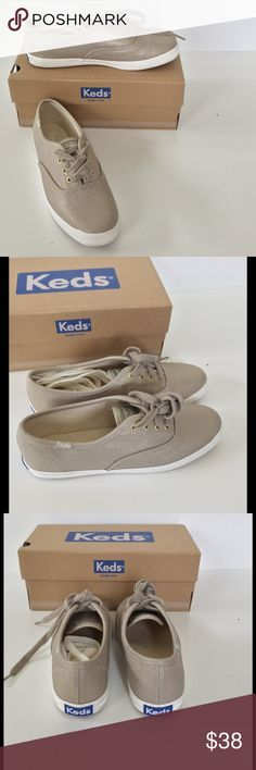 🆕 Gold Keds NIB Sizes 6 & 9.5 Gold canvas classic lace up Keds 👟 Padded footbed. Includes gold and white shoelaces. New in box. Side flap of size 9.5 box is torn but can be taped 🎀Bundle discount  🚭Smoke free home 🚫No trades please  😍 Thank you for shopping with me. Please ask all questions before purchase Keds Shoes Sneakers