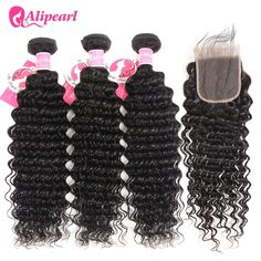 Human Hair Weaves Hearty Moxika Hair Brazilian Deep Wave Human Hair 3 Bundles 100% Ocean Wave Hair Weaves Can Be Straighten Dyed Permed 8-28inch Remy Products Are Sold Without Limitations