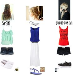 """""""Spain, France, Prussia!!!! Female!!!*"""" by shaygotswagg ❤ liked on Polyvore"""