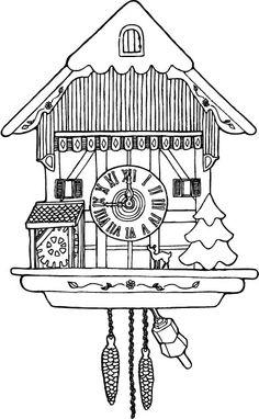 cuckoo clock Swiss Clock, Nutcracker Image, Clock Drawings, Clock Icon, Travel Activities, Cuckoo Clocks, Line Drawing, Embroidery Patterns, Hand Sewing