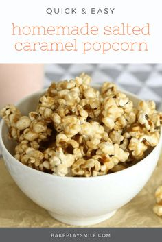 Satisfy your biggest cravings with a bowl of delicious Salted Caramel Popcorn (you won't even need to turn the oven on! Nut Recipes, Popcorn Recipes, Sweet Recipes, Snack Recipes, Dessert Recipes, Snacks, Recipies, Desserts, Salted Caramel Popcorn