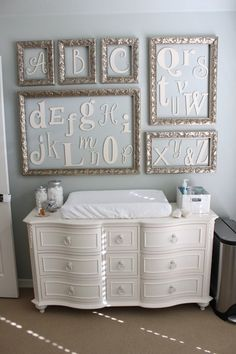 Baby G's Elegant Gender Neutral Nursery Cute idea for decorating a baby/child's room. Baby G Nursery Room, Girl Nursery, Nursery Decor, Room Decor, Room Baby, Nursery Ideas, Alphabet Nursery, Nursery Crafts, Elephant Nursery