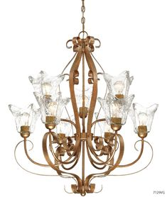 Millennium 7129VG Chatsworth Vintage Gold Chandelier with Heavy Clear Swirl Glass Transitional Chandeliers, Transitional Lighting, Bronze Chandelier, 5 Light Chandelier, Slumped Glass, Corbett Lighting, Vintage Iron, Glass Collection, Candelabra