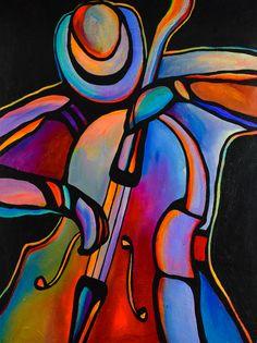 "30 ""x Original Acrylic Painting Abstract Jazz Musician Art Bass Player by Mike Daneshi Jazz Painting, Acrylic Painting Techniques, Acrylic Paintings, Original Paintings, Acrylic Art, Art Paintings, Cubism Art, Jazz Art, Art Music"