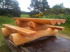 Delightful Log Picnic Table