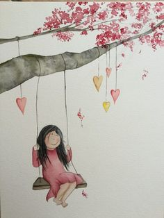 Art And Illustration, Watercolor Illustration, Watercolor Cards, Watercolor Paintings, Painting For Kids, Art For Kids, Paint Cards, Whimsical Art, Belle Photo