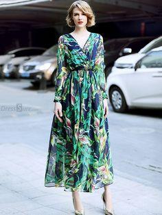 Fashion V-Neck Long Sleeve Floral Print Maxi Dress - DressSure.com