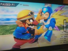 I was playing the new super smash bro's. This is what it looks like when Warrio does a grab attack on mega-man.