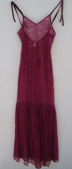 ***FOR LOVE & LEMONS SKIVVIES FULL LENGTH LACE SLIP IN CRANBERRY RED SZ MEDIUM** #ForLoveLemons #FullLengthSlip