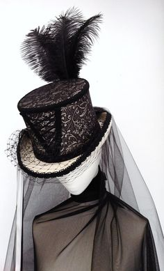 Ivory & black neo Victorian corset wedding hat by Blackpin on Etsy