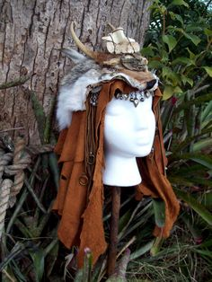 Wasteland Shaman Headdress  burning man by ArchaicLeatherworks