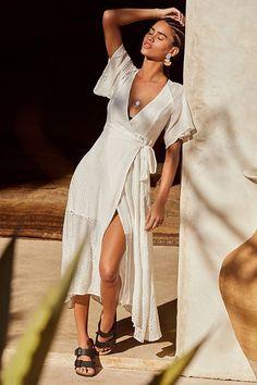 ASTR Gretchen Eyelet Midi Wrap Dress