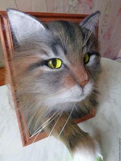 Купить как сделать кота своими руками - мастер-класс, кот в подарок, кот в рамке