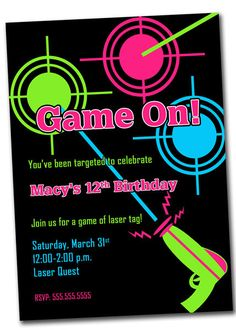 Invitations are as important as the break itself. Be it the wedding, engagement, birthday, or a babyish battery — invites authority a appropriate plac. Lazer Tag Birthday Party, Laser Tag Birthday, Laser Tag Party, 10th Birthday Parties, Boy Birthday, Birthday Ideas, Printable Birthday Invitations, Invitation Wording, Invites