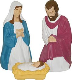 Nativity Scene Holy Family with Lights * More info could be found at the image url. This Amazon pins is an affiliate link to Amazon.
