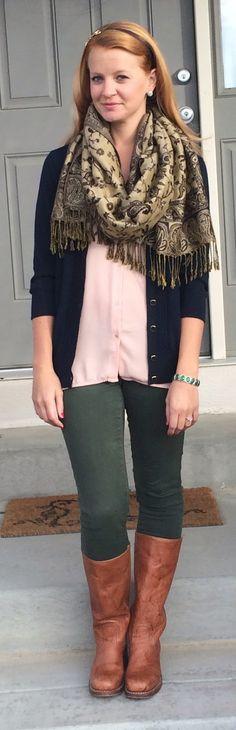 Sweet Bananie - blush blouse, navy cardigan, olive skinnies, boots + monogrammed pashmina