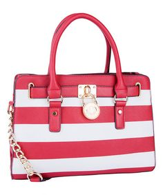 Red Stripe Padlock Shoulder Bag by MKF Collection #zulily #zulilyfinds