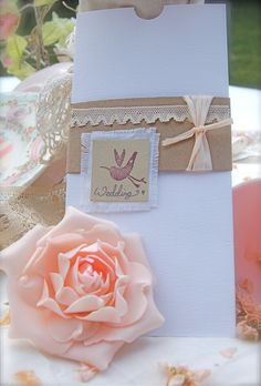 Boutique Vintage handmade designer wedding invitations french shabby chic rustic & natural with little lovebird