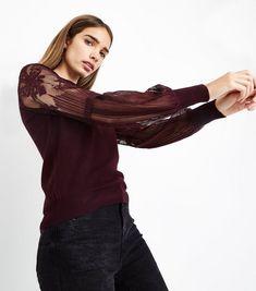 Burgundy Lace Balloon Sleeve Jumper | New Look