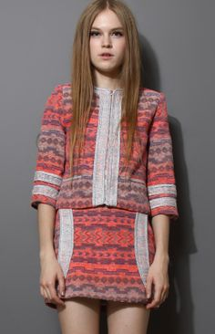 Coral Contrast Trims Tribal Print Jacket with Skirt GBP£25.28