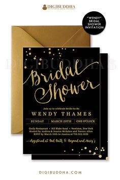 Chic and elegant black and gold bridal shower invitations with modern calligraphy script, gold glitter accents and confetti sprinkles in the corners. Choose from ready made printed invitations with envelopes or printable bridal shower invitations. Silver shimmer envelopes also available. digibuddha.com