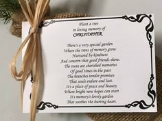 Remembrance Trees - Live evergreen sympathy tree seedling funeral favors in burlap for memorial gifts. Environmental and personalized memorial tree. Sympathy Notes, Sympathy Gifts, Tree Seedlings, Memory Tree, Funeral Memorial, Memories Quotes, Funeral Flowers, Prayer Cards, Cherished Memories