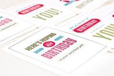 Birthday Card Set Typography Greeting Cards // by PeraPress