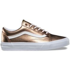 Vans Metallic Old Skool ($70) ❤ liked on Polyvore featuring shoes, sneakers, gold, flexible shoes, skate shoes, vans trainers, metallic sneakers and metallic shoes